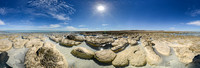 Stromatolites in Shark Bay, Carbla Point. Equirectangular projection of HDR panorama