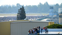 Visitors and Employees prepare for the Space Shuttle Endeavour Flyover at NASA Ames