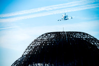 Space Shuttle Endeavour flying over NASA Ames hangar