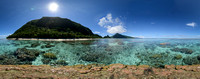 Atop a 1000 year old Porites Coral, American Samoa. Equirectangular projection of HDR panorama